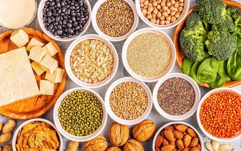 array of vegan protein sources, including legumes, nuts, grains, vegetables, and tofu