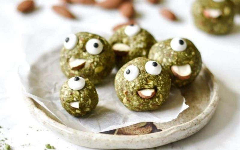 vegan Halloween matcha energy balls
